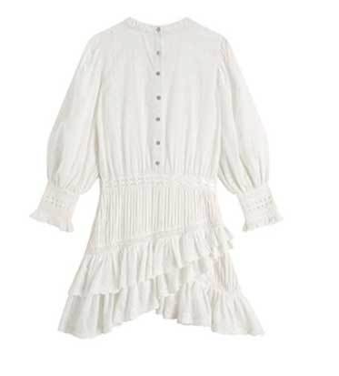 'Lorelei' Tiered White Broderie Anglaise Embroidery Ruffle Mini Dress