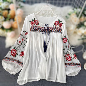 'Alannah' Floral Embroidery White Blouse With Puffed Sleeves And Tassels (3 Colours!)