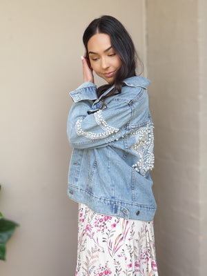 'Anastasia' Pearl Stud Denim Jacket