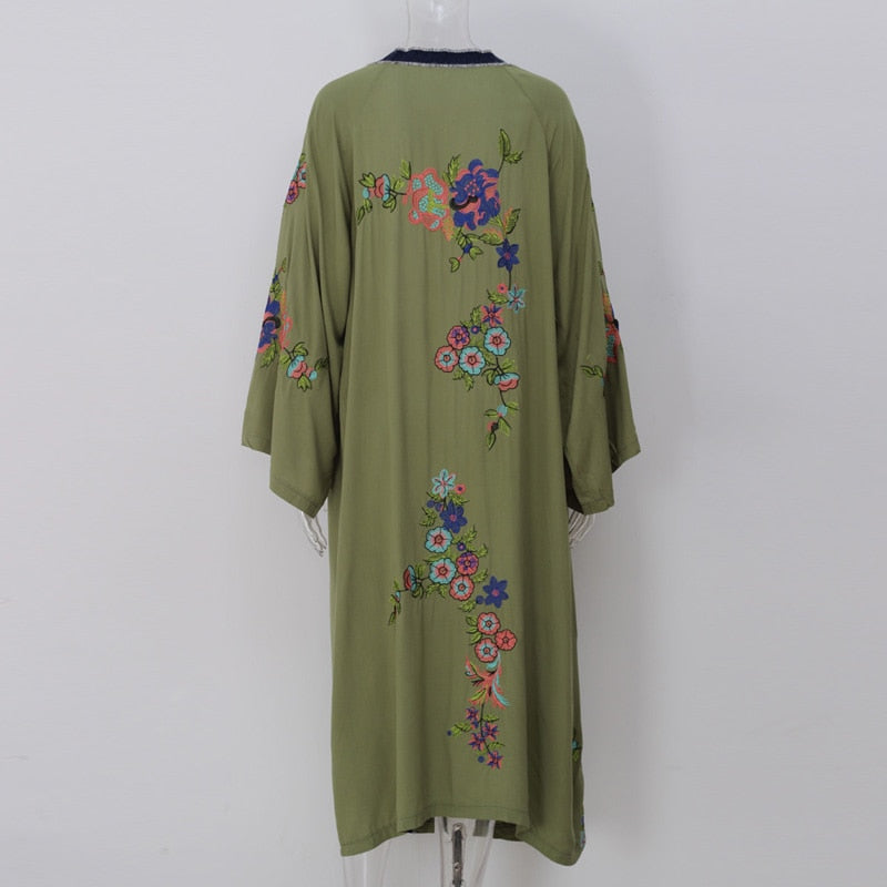 'Maisy' Bohemian Beach Kimono with Floral Embroidery