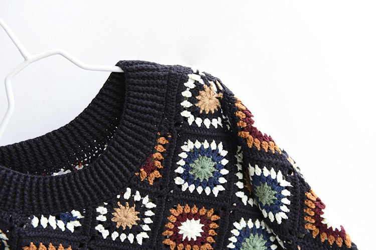 'Beth' Crochet Flower Knit Sweater