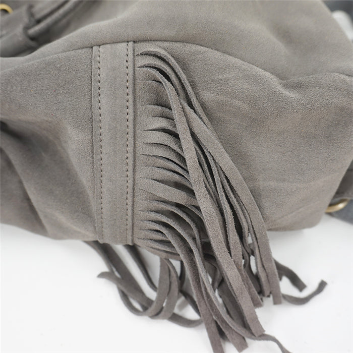 'Wisteria' Bohemian Suede Leather Backpack Bag With Tassels (2 Colours)