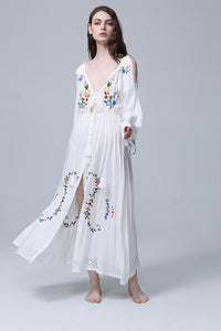 'Lana' White Floral Embroidered Maxi Dress with Deep V-Neck