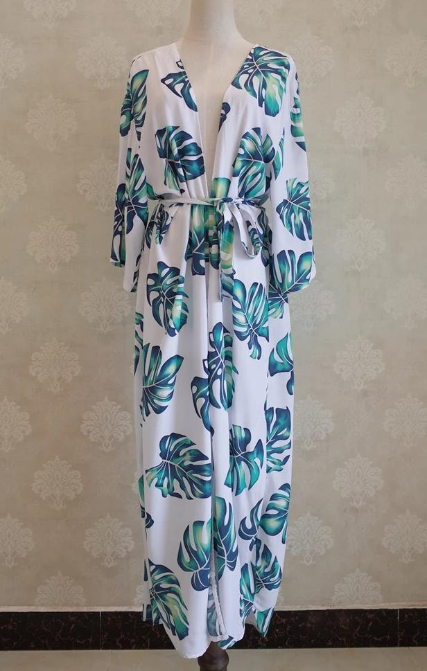 'Fiona' Printed Half Sleeve Beach Wear Long Kimono Jacket in MONSTERA