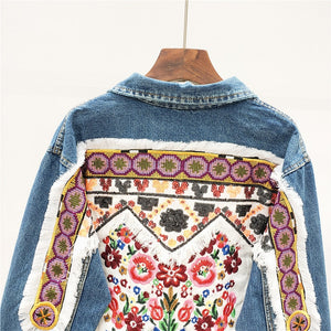 'Ophelia' Oversized Denim Jacket with Floral Applique