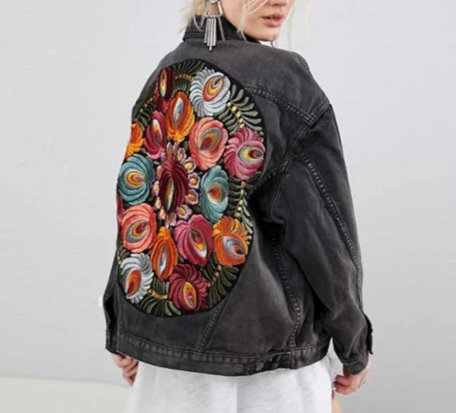 'Harper' Floral Embroidery Distressed Denim Jacket