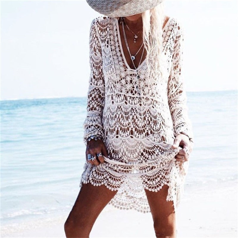'Abby' Crochet Boho Beach Dress (3 Colours) Media 1 - Byron Bohemian