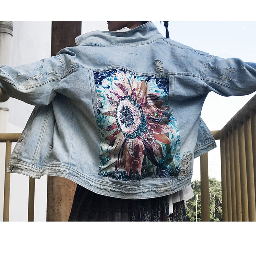'Meredith' Boho Flower Sequin Distressed Denim Jacket