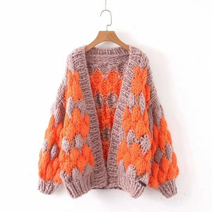 'Frankie' Boho Oversized Hand Knitted Balloon Sleeve Cardigan Jacket in Orange and Tan