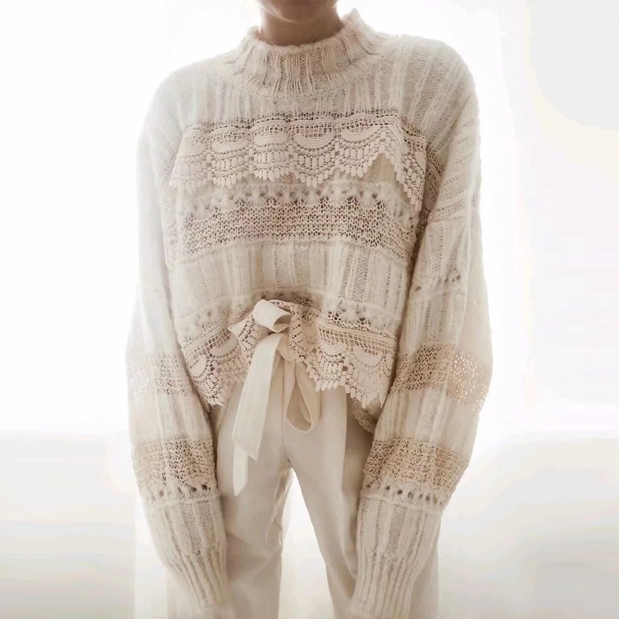 'Addison' Oversized Thick Knitted Sweater with Lace Trims Media 1 - Byron Bohemian