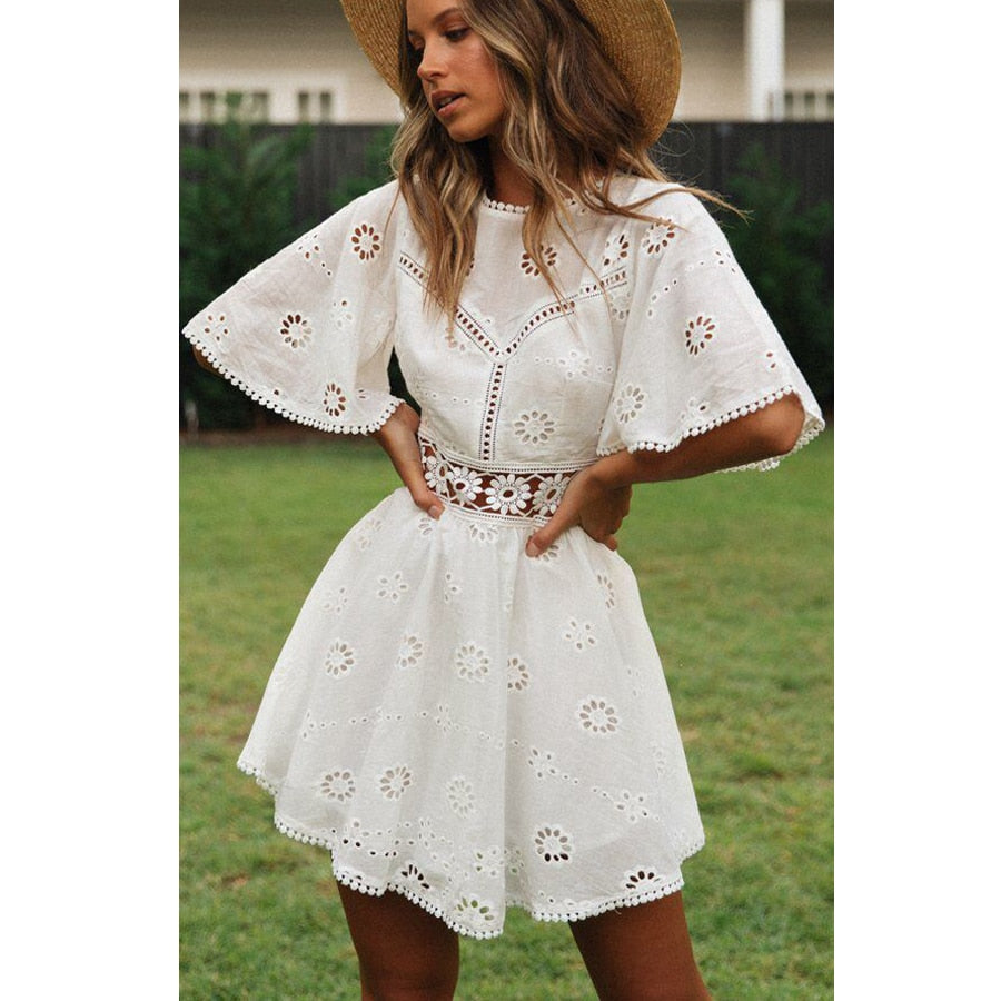 'Lauren' White Lace Boho Mini Dress with Flutter Sleeves