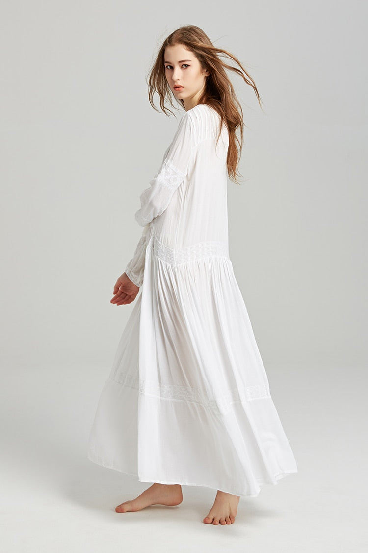 'Esther' Embroidered Long Sleeve Maxi Dress (2 Colours)