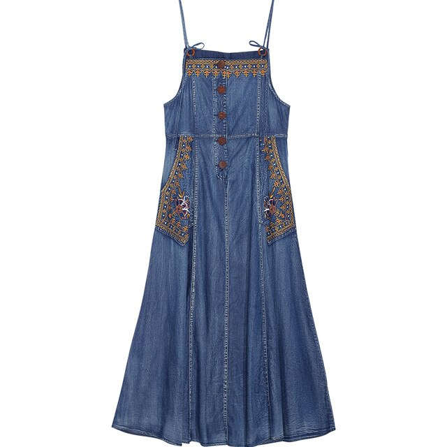 'Isla' Embroidered Buttoned Denim Spaghetti Strap Maxi Dress with Pockets