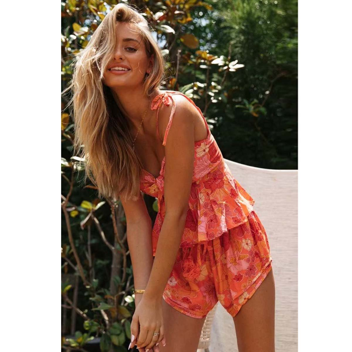 'Peachy' Bohemian Orange And Pink Floral Shorts And Singlet 2 Piece Set
