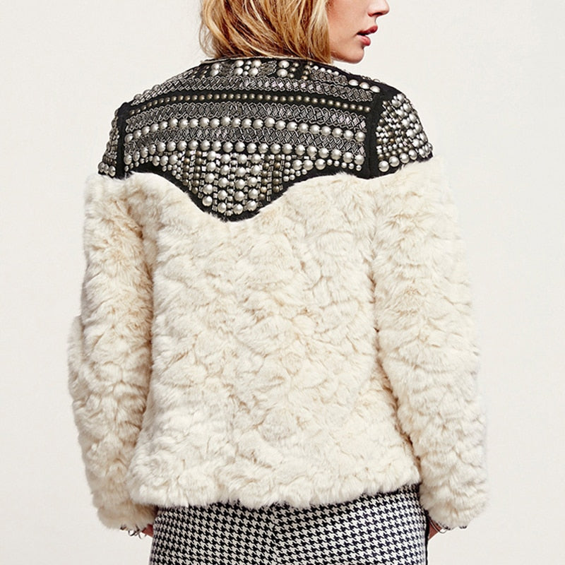 'Alessandra' Riveted Boho Faux Fur Jacket