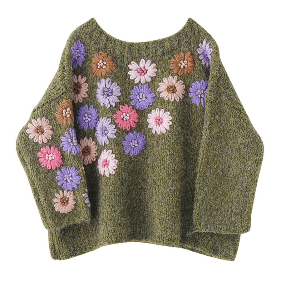 'Paige' Floral Hand-Embroidered Retro Oversized Sweater