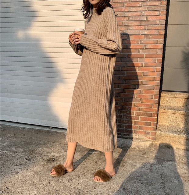 'Molly' Long Sleeve Knitted Sweater Dress (3 Colours)