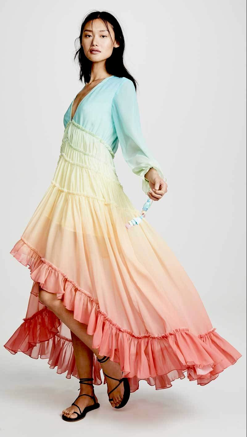 'Mariah' High-Low Ruffled Sunrise/Sunset Maxi Dress (2 Colours!)