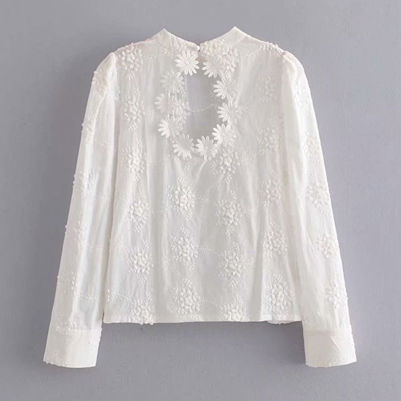 'Daisy' White Floral Embroidery Blouse