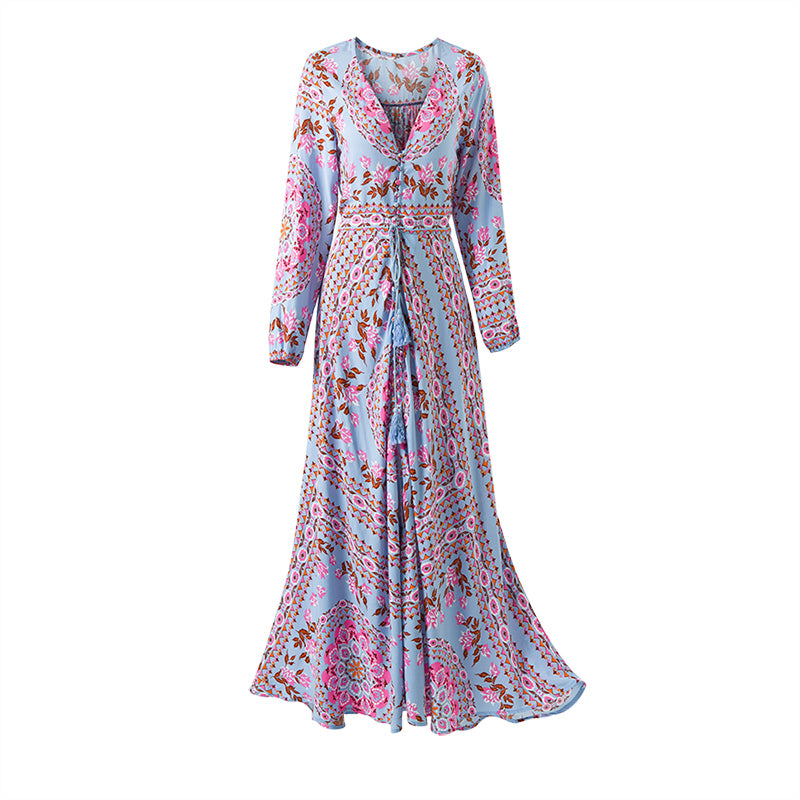 'Rochelle' Rose Print Maxi Dress With V Neck & Tassels