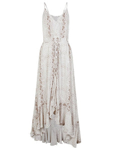 'Maxine' Snake Print Long Maxi Dress With V Neck & Buttons