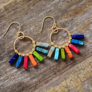 'Lara' Handmade Chakra Coloured Stone Dangle Earrings (6 Colours!)
