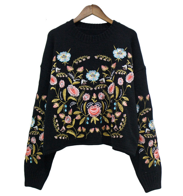'Eloise' Black Floral Embroidered Sweater