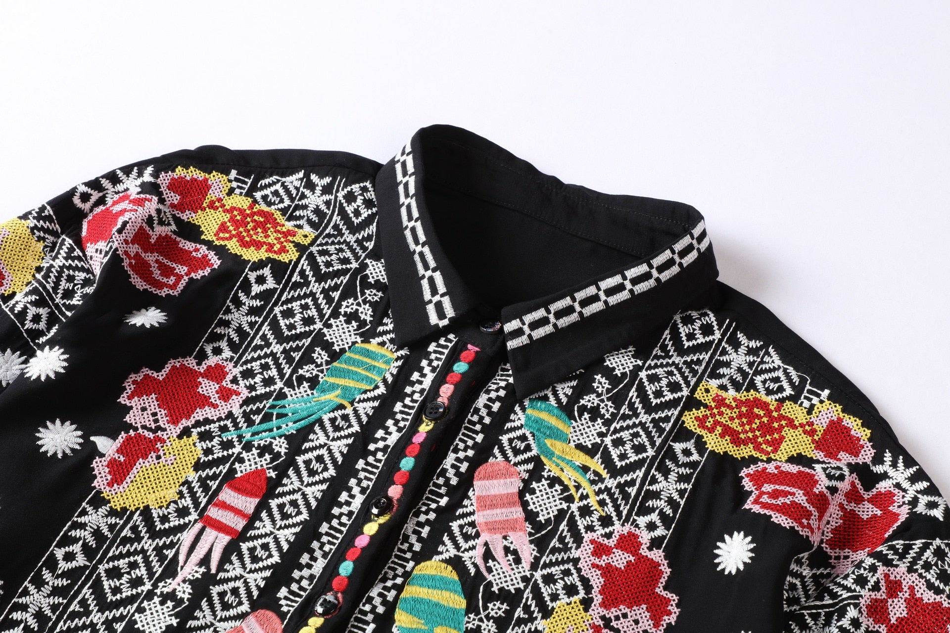 'Ardenia' Floral And Aztec Embroidery Long Sleeve Blouse