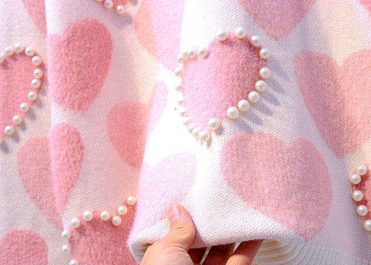 'Lover' Knitted Sweater With Printed Love Hearts & Pearls (2 Colours)