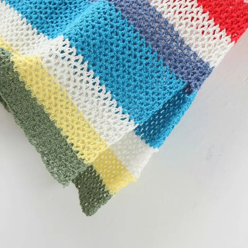 'Jesse' Crochet Rainbow Striped Throw Over Beach Dress