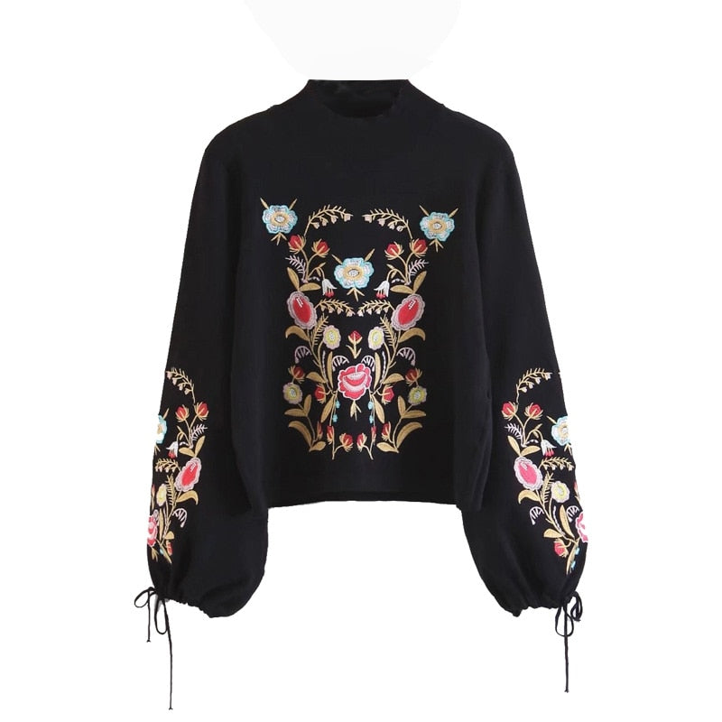 'Eloise' Tie Up Sleeve Sweater With Black Floral Embroidery