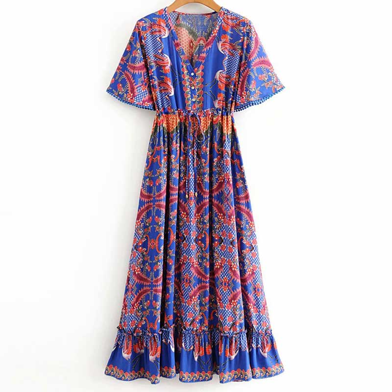 'Scarlett' Bodhi Print V-neck Maxi Dress with Waist Tie
