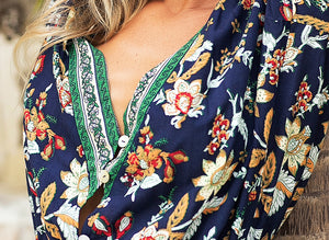 'Jamie' Bohemian Floral Print V- Neck Jumpsuit With Tassels