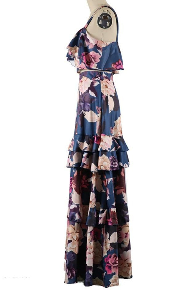 'Rita' Ruffled Floral Two Piece Set With Long Maxi Skirt & Crop Top