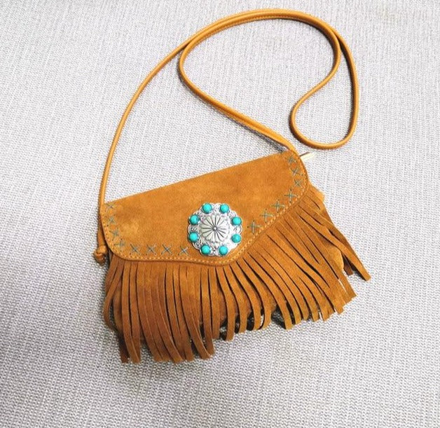 'Anna' Genuine Suede Crossbody Bag With Tassels And Turquoise Buckle