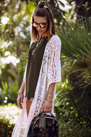 'Elle' White Lace Kimono With Three Quarter Sleeves And Tassels