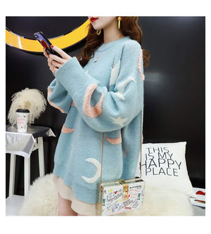 'Elsa' Knitted Star And Moon Pullover Sweater (3 Colours)