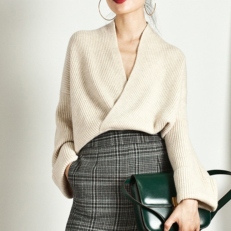 'Arden' Elegant Knitted V-neck Sweater