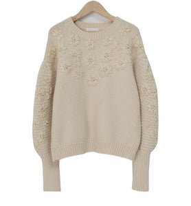 'Elise' Floral Embroidered Oversized Sweater (2 Colours!)