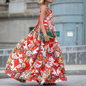 'Jane' Abstract Floral Print Sleeveless Maxi-Dress