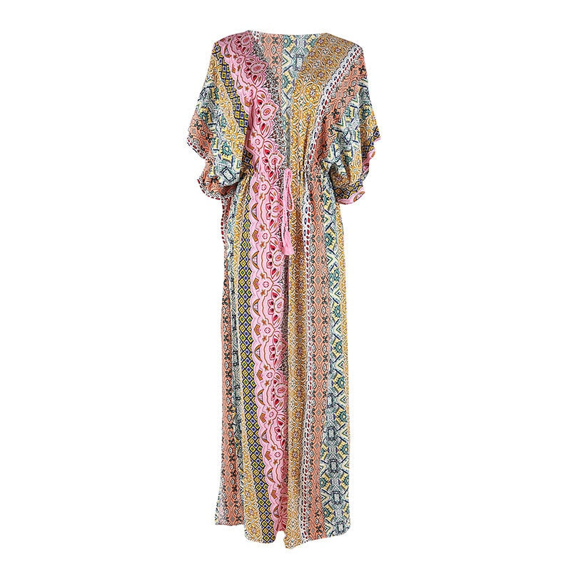 'Zoe' Bohemian Multi-Print Kimono Beach Cover Up With Tassels