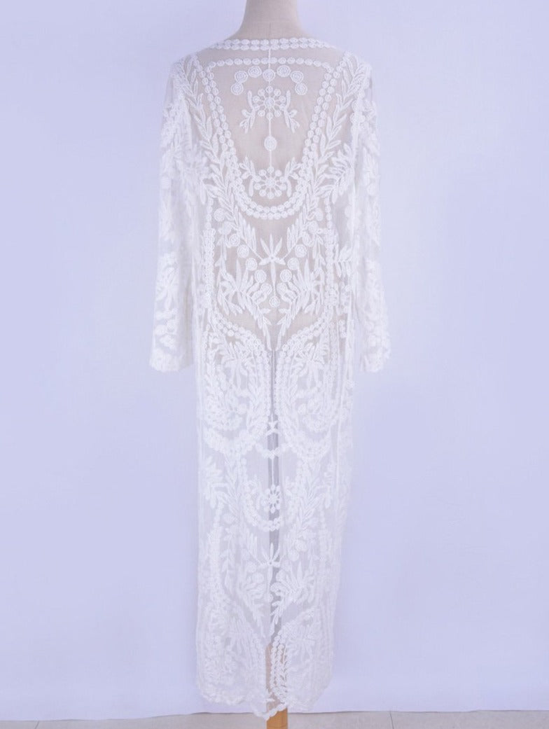 'Hattie' White See Through Embroidered Lace Kimono