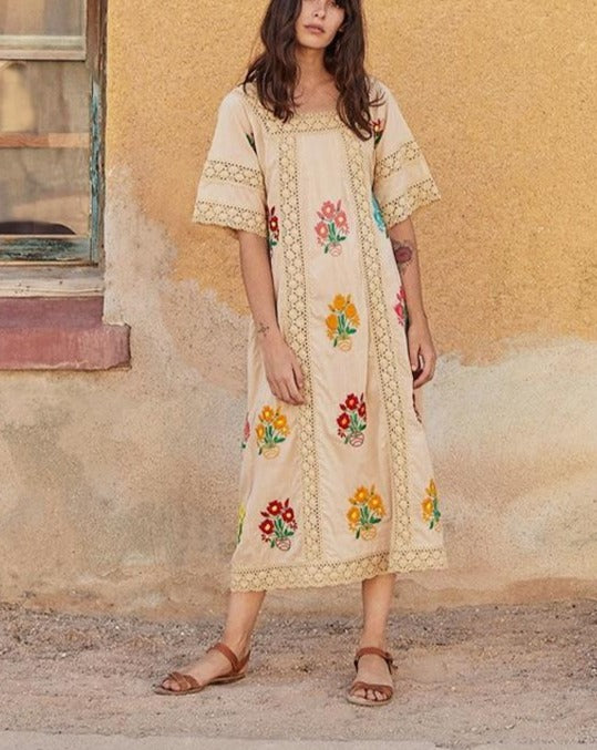'Naila' Long Bohemian Dress With Embroidered Flowers & Lace Trimming (2 Colours)
