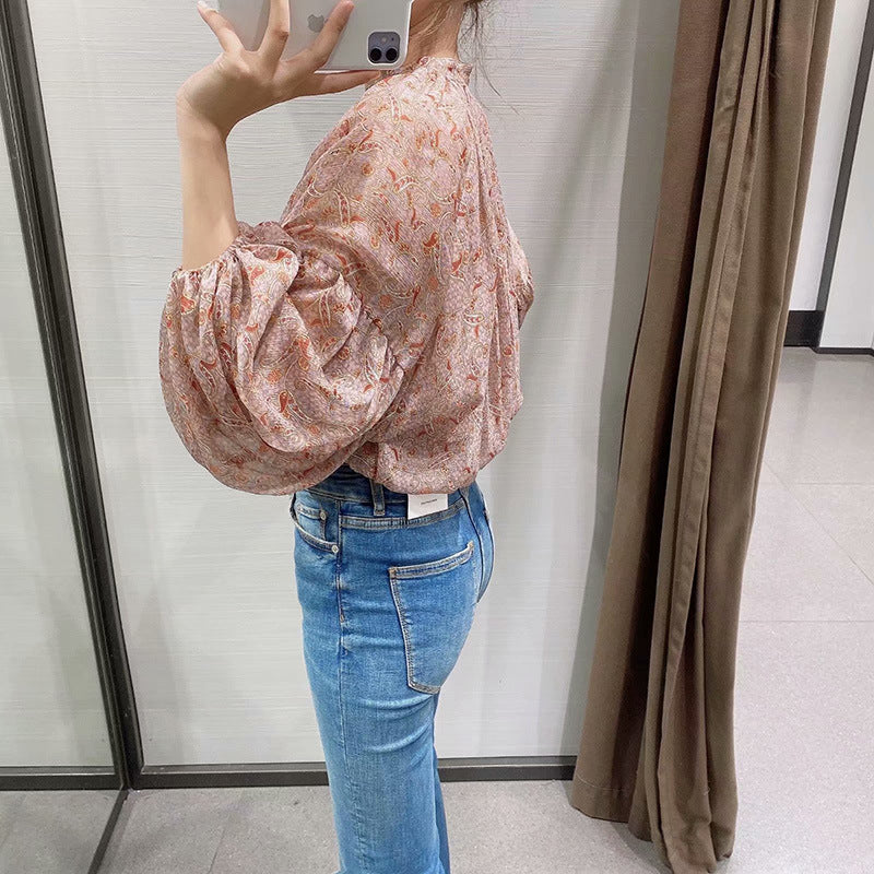 'Brooke' Bohemian Floral Print Cropped Shirt With Lantern Sleeves