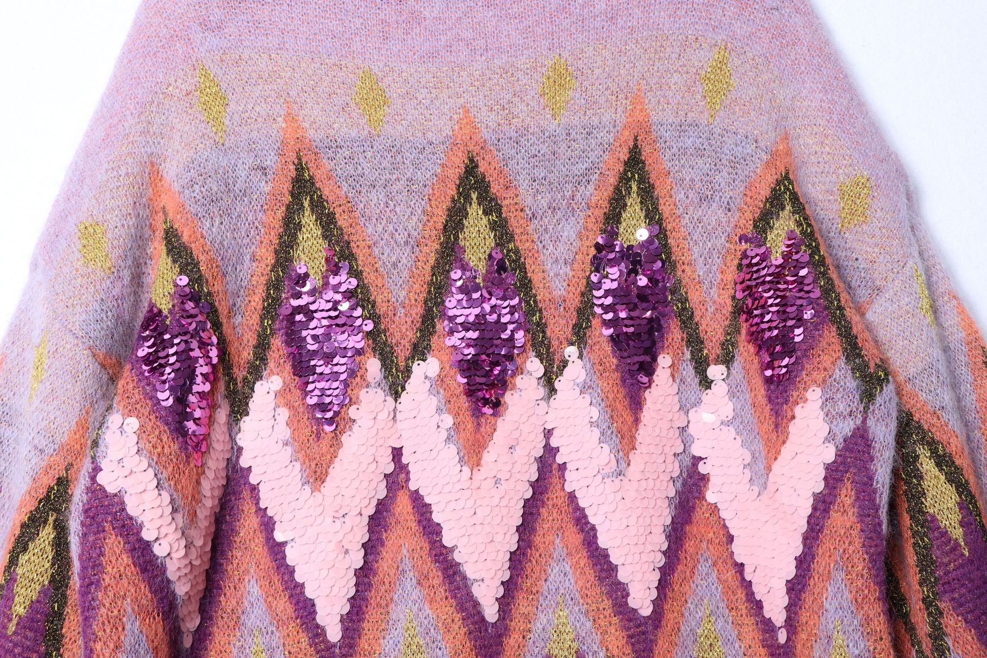 'Anais' Purple Oversized Turtleneck Sweater With Embroidered Sequins