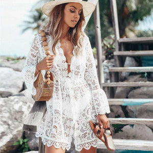 'Eleni' White Lace Beach Throw Over Dress With Flared Sleeves