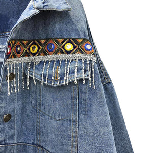 'Lydia' Embroidered Patchwork Applique Denim Jacket