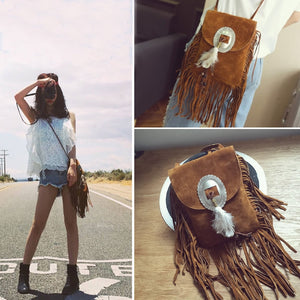 'Alexa' Fringe Messenger Crossbody Bag with Feathers (3 Colours!)