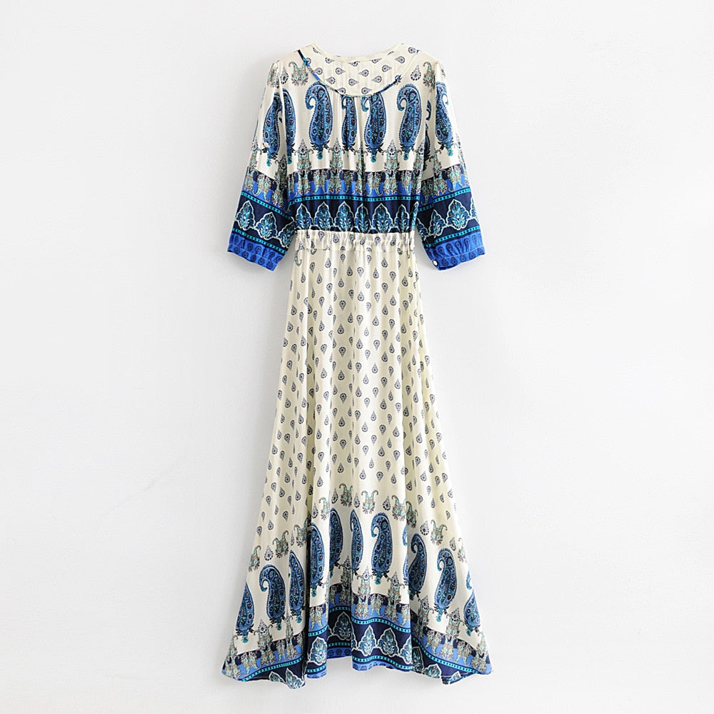 'Saskia' Blue Paisley Long Maxi Dress With Half Sleeves