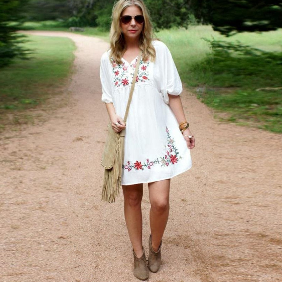 'Mia' White Mini Bohemian Dress With Floral Embroidery